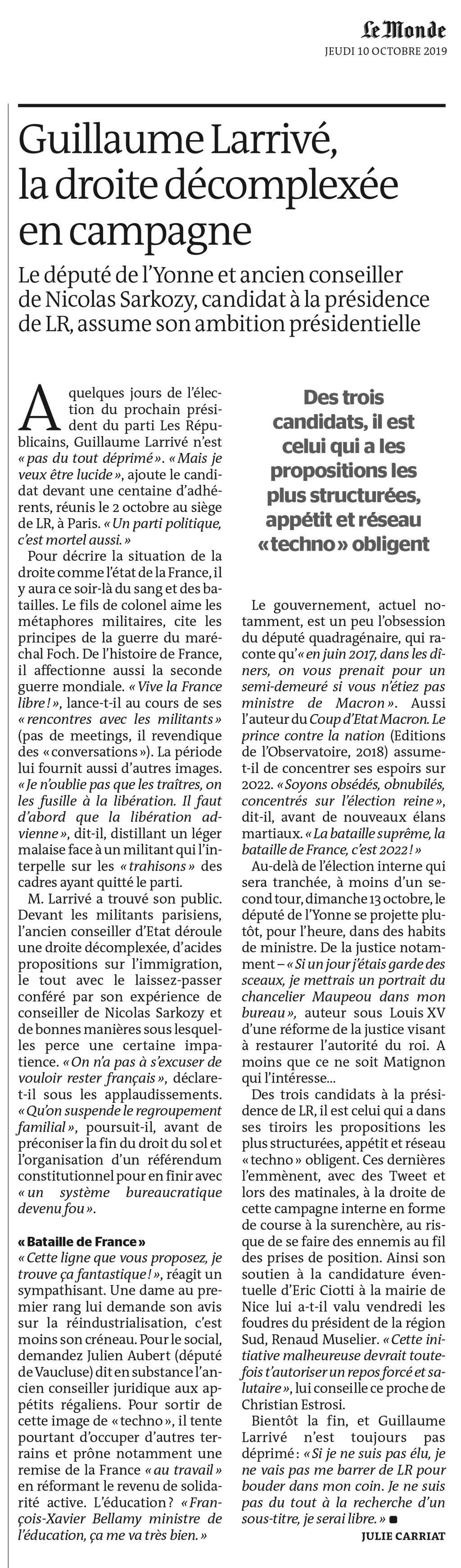 Guillaume Larrivé, la droite décomplexée en campagne pour la présidence de LR